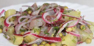 Салат с селедкой и зеленым горошком