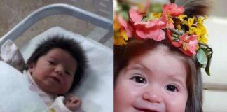 Девочка родилась с шикарными волосами