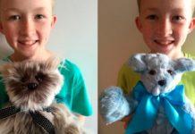 Хлопчик шиє дитячі іграшки