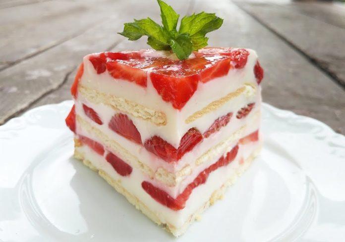 Полуничний торт без випічки