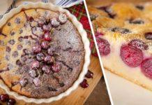 Французький десерт Клафуті з черешнями