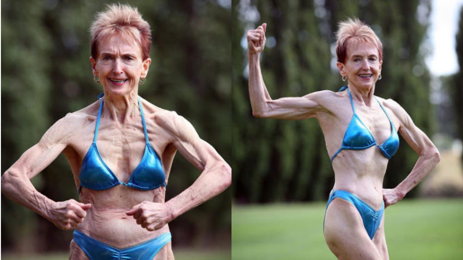 Пенсионерка занимается фитнесом