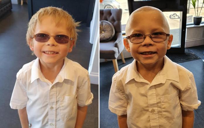 7-летний мальчик побрился налысо, чтобы поддержать друга