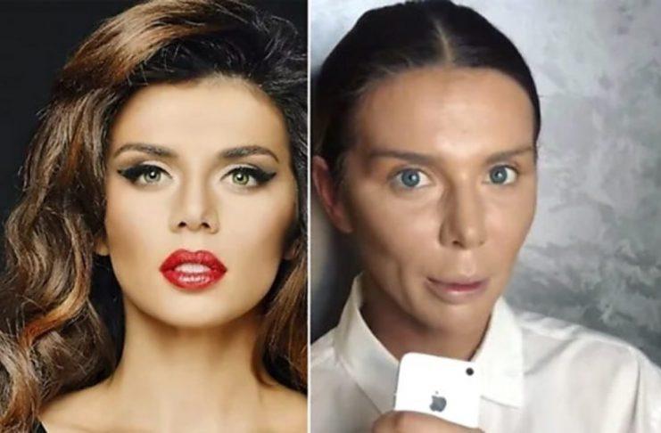 Анна Седокова: с макияжем и без