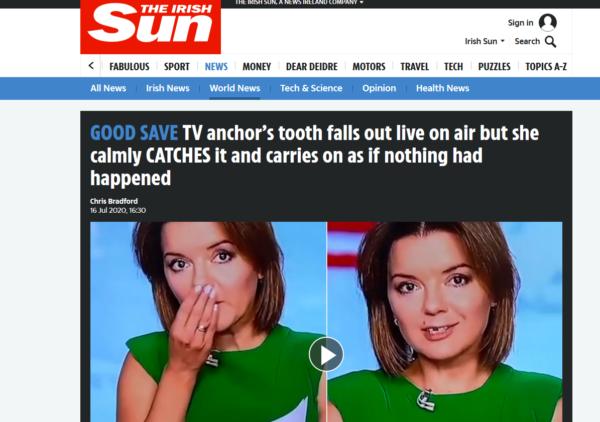 Випав зуб в прямому ефірі