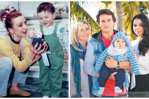 Татьяна Овсиенко с сыном слева. Справа: Татьяна с сыном, внуком и невесткой