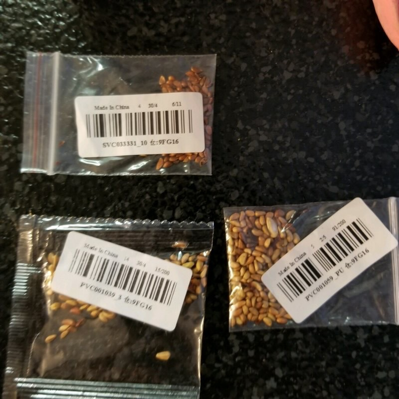 Разные семена из посылок