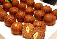 Домашні шоколадні цукерки з горіхами з печива і згущеного молока