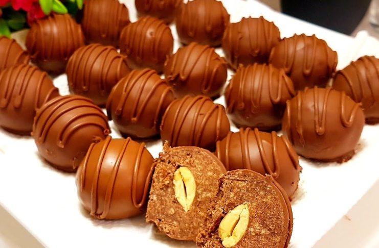 Домашние шоколадные конфеты с орехами из печенья и сгущенки