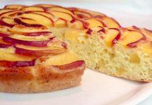 Пирог с персиками на йогурте