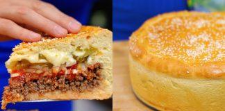 Пирог «Чизбургер» с фаршем и консервированными огурцами