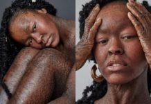Девушка-модель со змеиной кожей