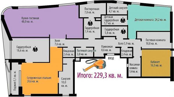 План аппартаментов Татьяны и Евгения Вагановича