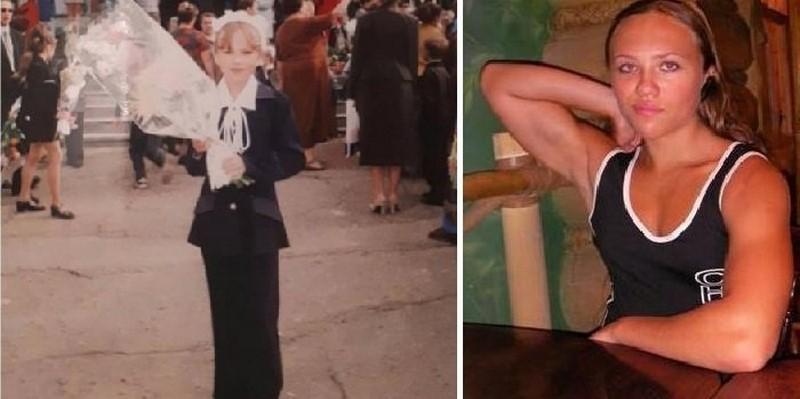 Наталя в дитинстві і в 18 років