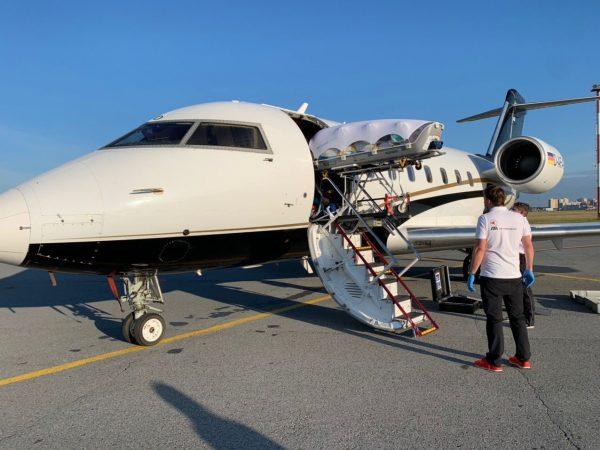 Медицинский самолет, на котором Навального транспортировали из Омска в Берлин