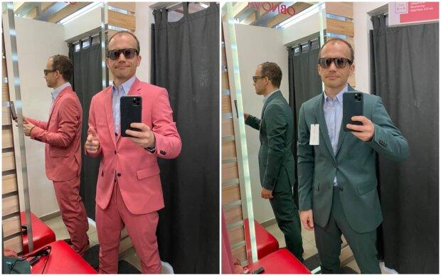 А міністр питає, який костюмчик йому купити 0 рожевий або зелений?