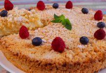 Торт-пиріг з хрусткою пісочної крихтою і заварним кремом