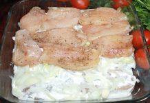 Сочное куриное филе с маринованным луком