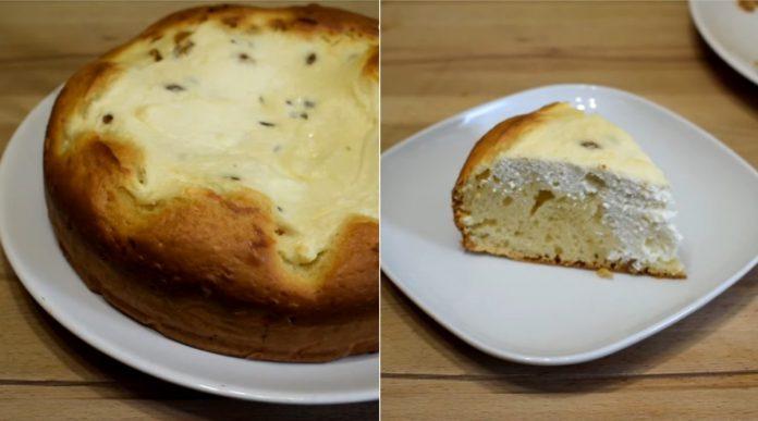 Пиріг з сиром та родзинками