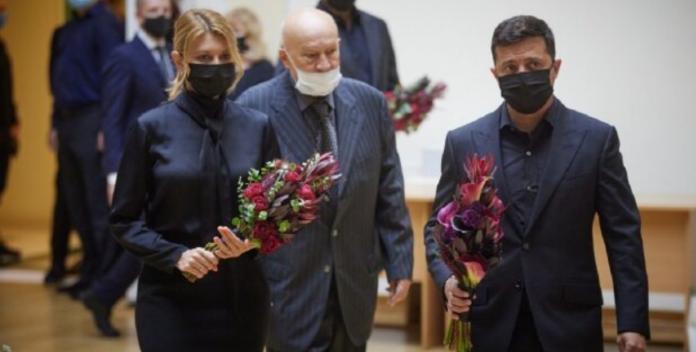Володимир і Олена Зеленська на похоронах Бориса Патона