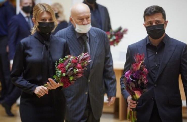 Владимир и Елена Зеленские на похоронах Бориса Патона