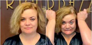 После рук профессионала женщина превратилась в шикарную блондинку