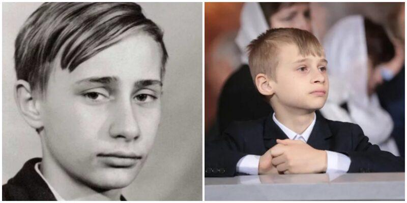 Володимир Путін в дитинстві і Діма, син Кабаєвою (фото зроблено в церкві. Імовірно під час вінчання)