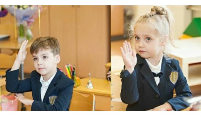 Ліза і Гаррі Галкін в школі