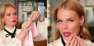Ольга Фреймут показывает, как нужно пользоваться салфетками