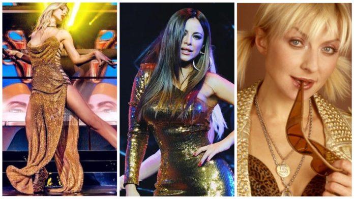Красуні-артистки в золотих сукнях