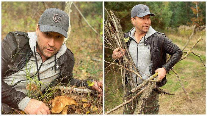 Олег Винник показал фотографии с теплого осеннего выходного дня - уединился в лесу с любимой
