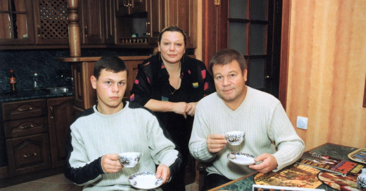 Сергій Селін з першою дружиною і сином