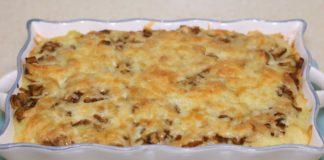 Запіканка з картопляного пюре, фаршу і грибів
