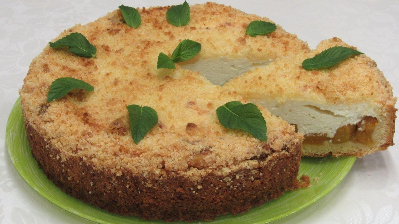 Пирог к чаю: рассыпчатое песочное тесто и нежная творожная начинка с фруктами