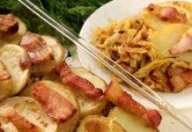 Апетитна картопля з капустою і салом у духовці