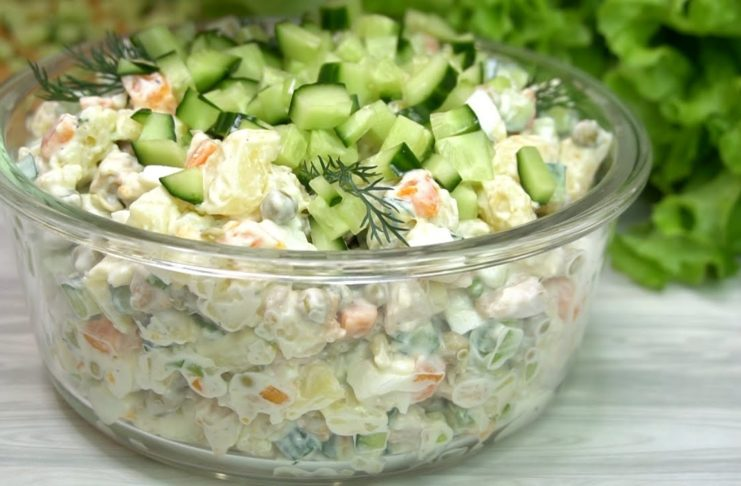 Салат оливье без колбасы