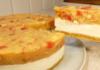 Торт без випічки з фруктами і легким сирним кремом
