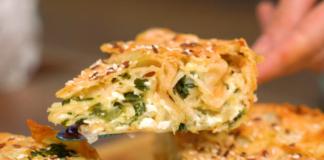 Простий пиріг з лаваша з сиром, цибулею і зеленню