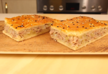 Пиріг з м'ясом і картоплею з тонким ніжним тістом