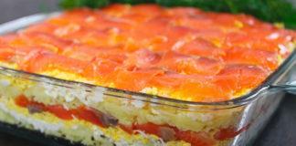 Святковий салат з червоною рибою