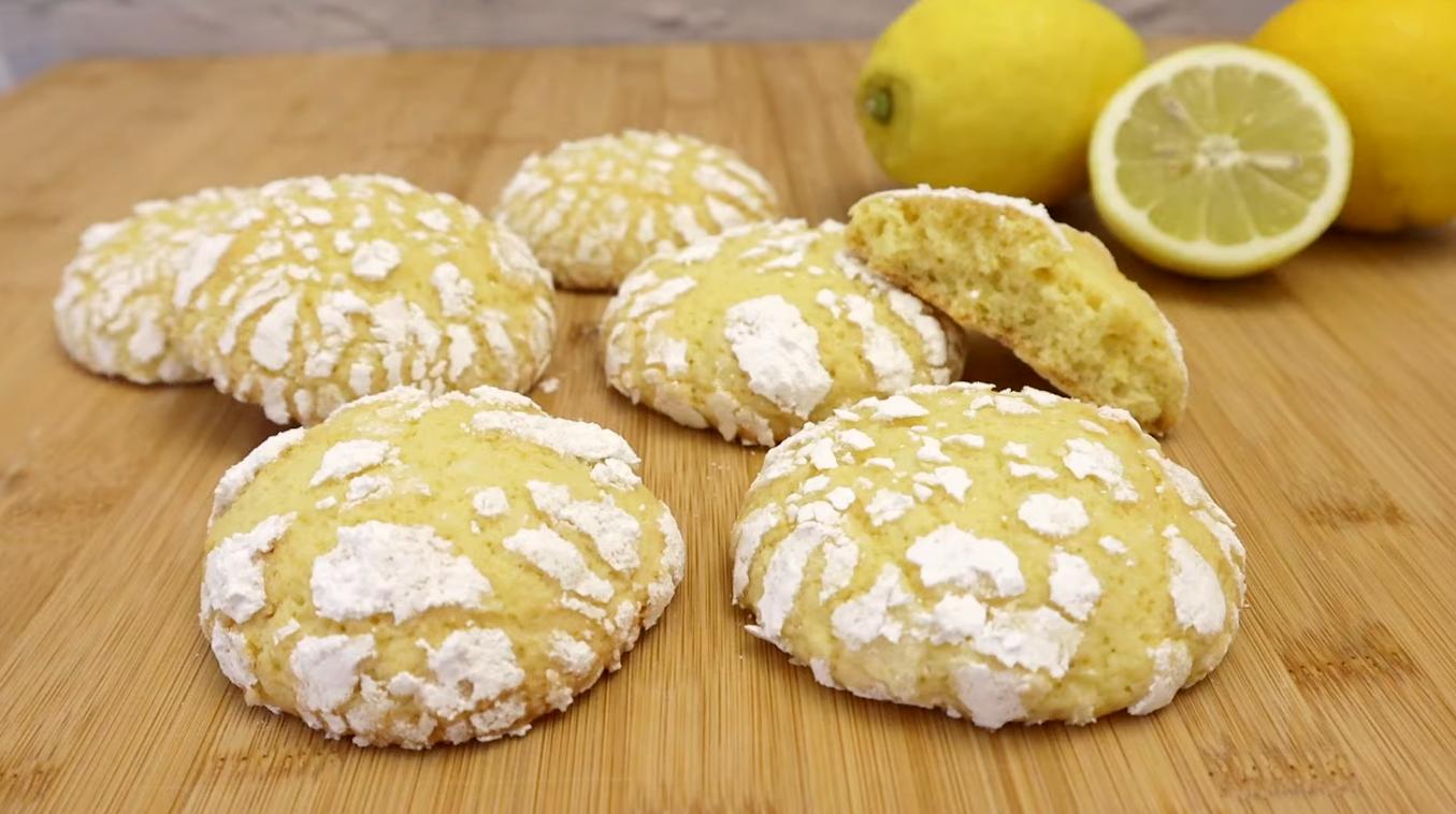 Вкусное лимонное печенье с трещинками