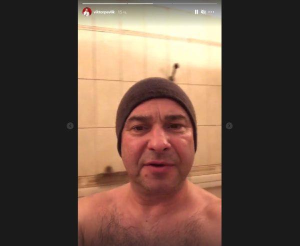 Виктор Павлик в бане (скриншот из его Инстаграма)