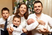 Григорий Решетник с женой и сыновьями