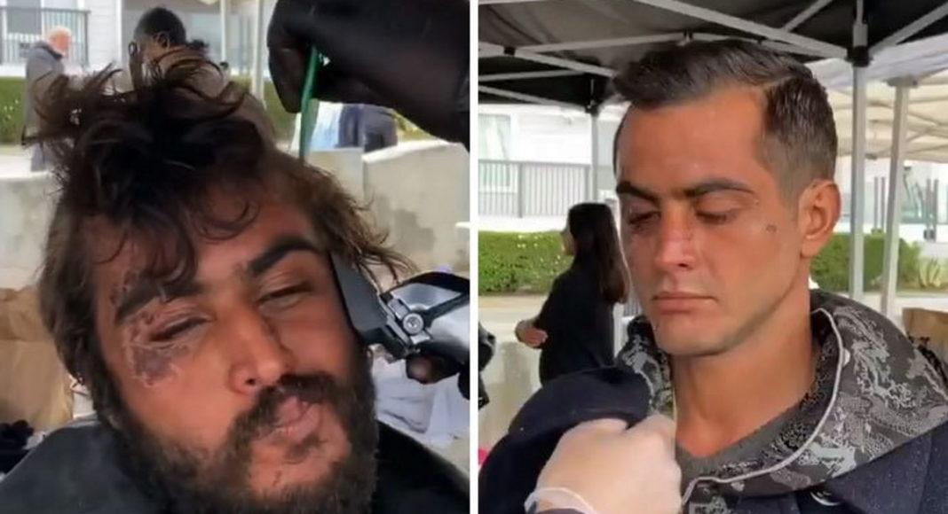 Парикмахер бесплатно стрижет бездомных