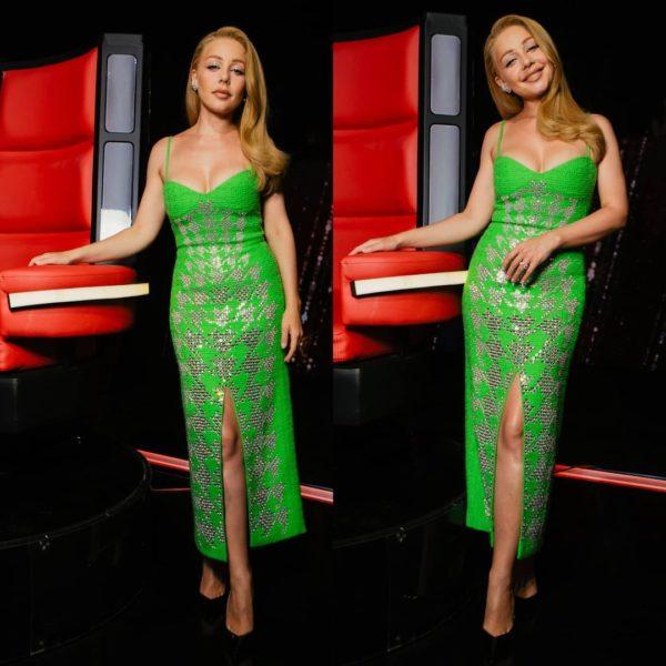 Тіна Кароль в зеленій сукні на тонких бретелях подражнила Дана Балана стрункою фігурою