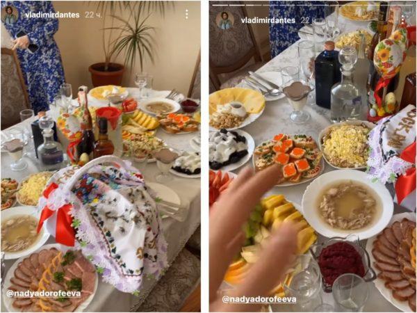 Для знаменитых гостей накрыли шикарный стол с блюдами украинской кухни