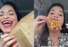 В Сети показали женщину с самым большим в мире ртом: она запихнула туда целую порцию картошки