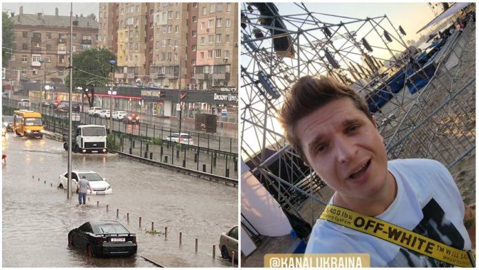В Киеве ураган снес сцену, на которой должны были выступать украинские артисты
