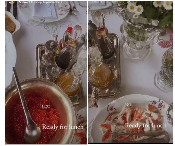 Катя Осадча подала на стіл червону ікру і м'ясо краба