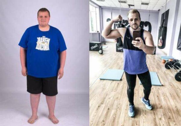 Владимир Однорог до и после похудения